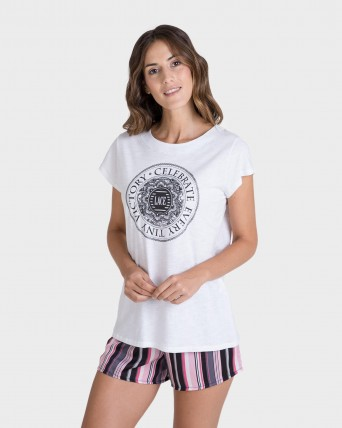 Pijama de dona màniga curta blanca