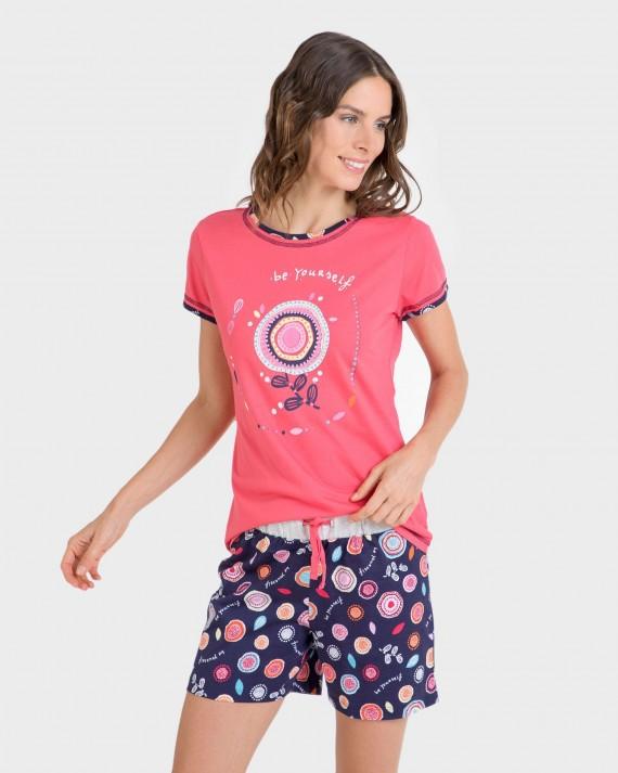 Pijama de dona 100% cotó màniga curta