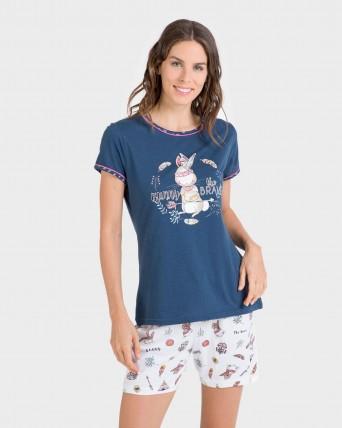 Pijama de mujer 100% algodón manga corta