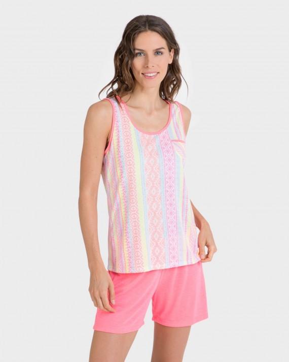 Pijama de dona fluorescent curt