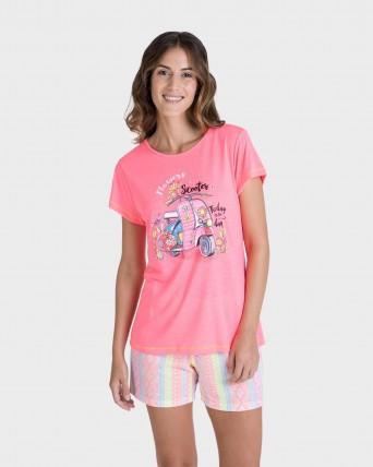 Pijama de dona fluorescent màniga curta
