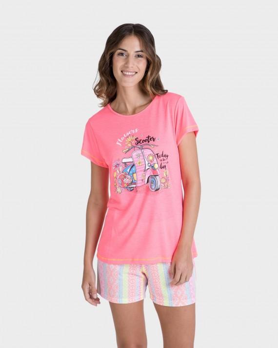 Pijama de mujer fluorescente manga corta