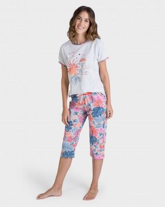 Pijama de dona pirata floral