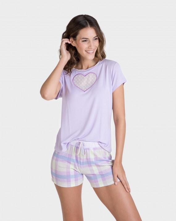 Pijama de mujer manga corta con corazón