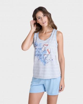Pijama de mujer sin mangas con rayas