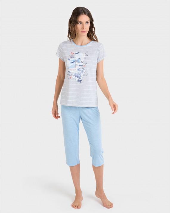 Pijama de mujer pirata azul