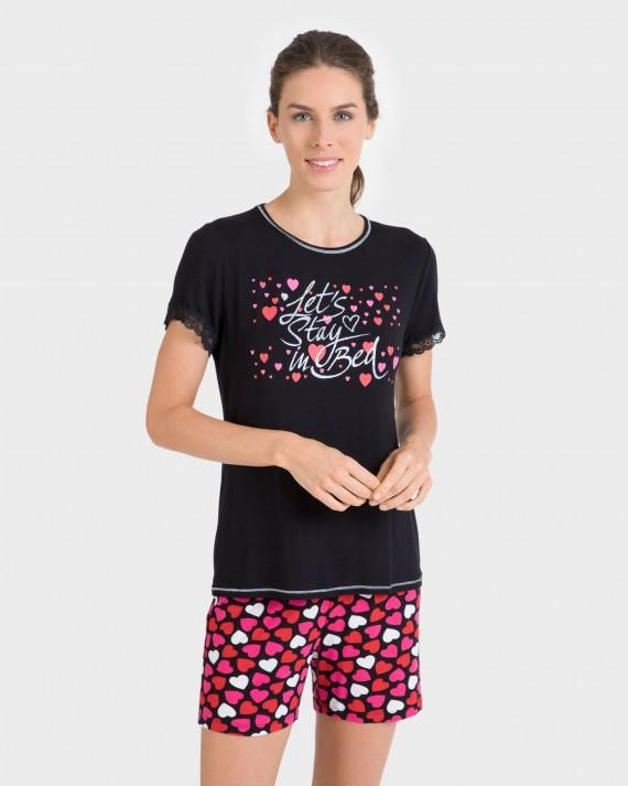 Pijama de dona màniga curta amb cors