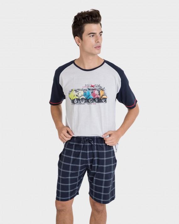 Pijama de hombre algodón motos