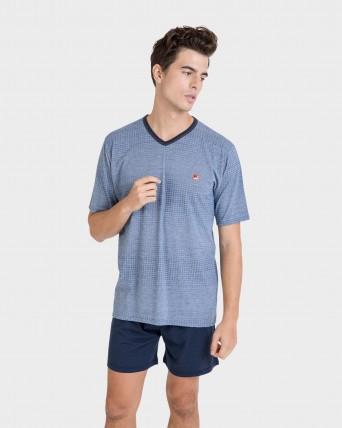 Pijama de hombre cuello pico
