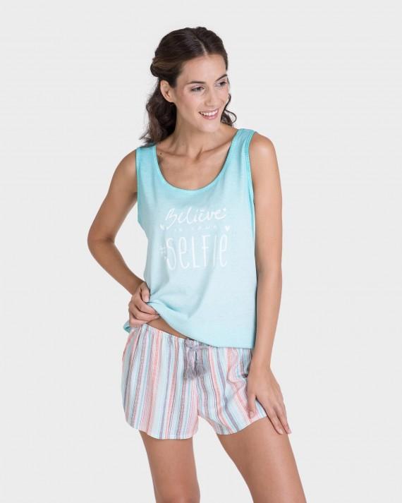 Camiseta de mujer mix and match tirantes 100% algodón