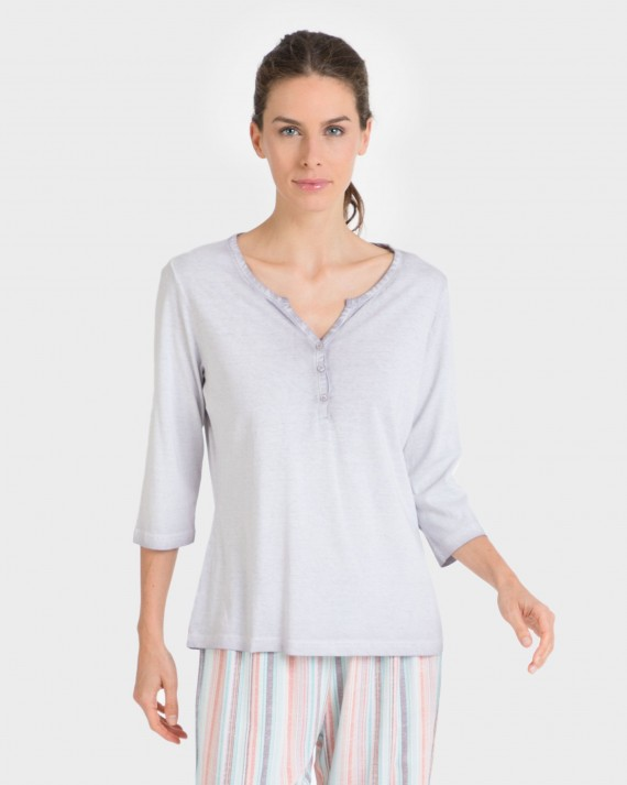 Camiseta de mujer mix and match manga 3/4 100% algodón