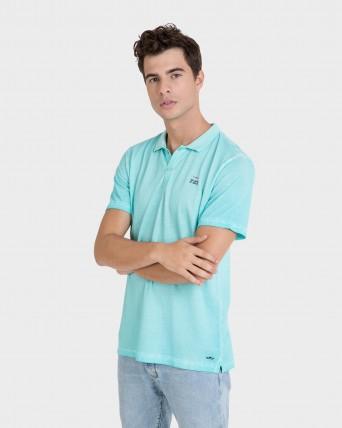 Polo d'home turquesa de màniga curta