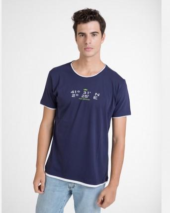Camiseta de hombre marino de manga corta