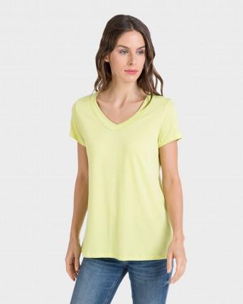 Camiseta de mujer de manga corta con algodón