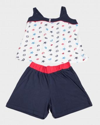 Pijama niña sin mangas estampado marinero