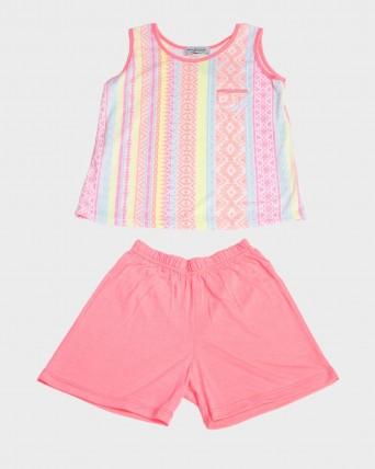 Pijama niña fluorescente sin mangas