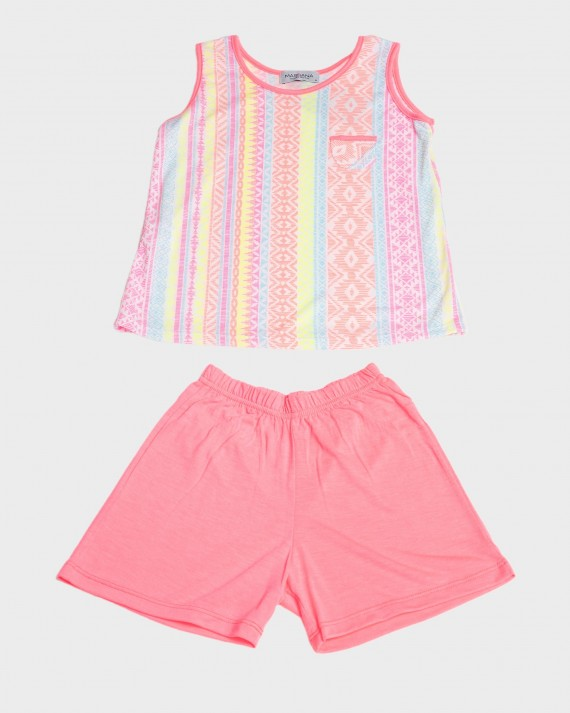 Pijama nena fluorescent sense mànigues