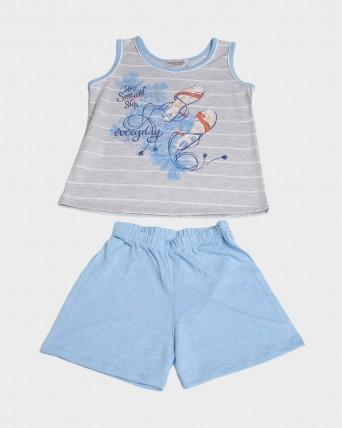Pijama niña sin mangas cuello redondo