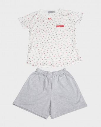 Pijama niña manga corta y bolsillo