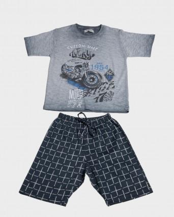 Pijama nen 100% cotó màniga curta