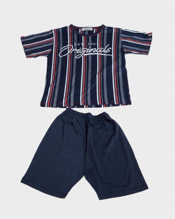 Pijama niño rayas y cuello redondo