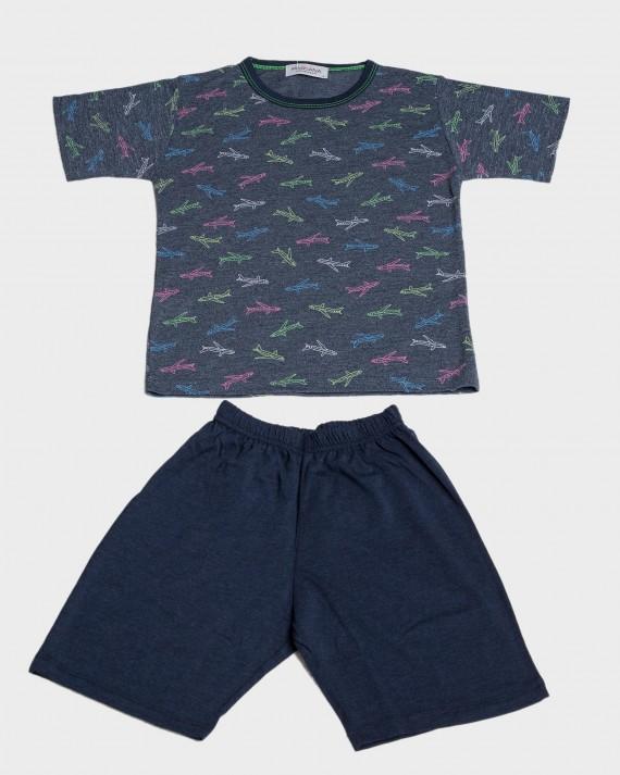Pijama niño manga corta aviones